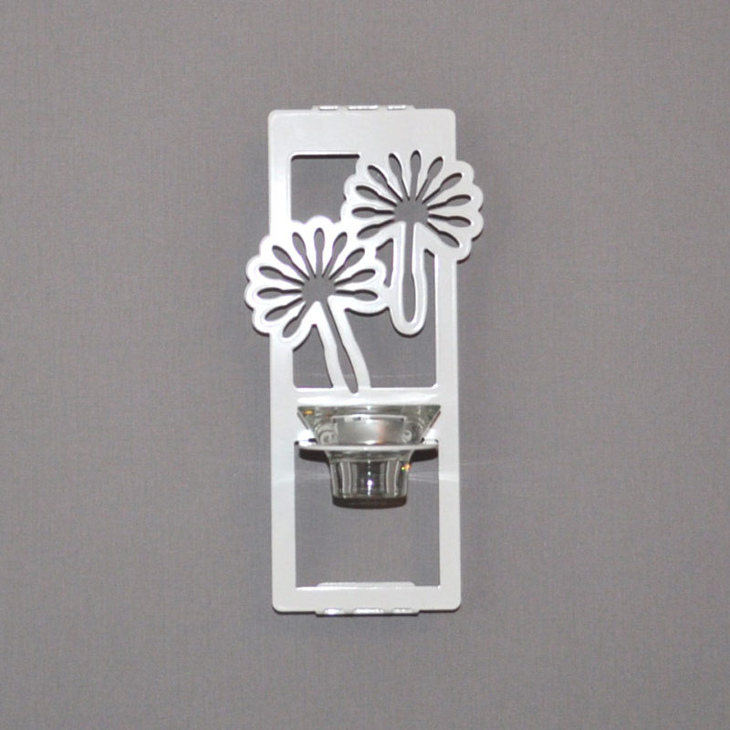 Maskrosfrö, vit ljushållare för vägg