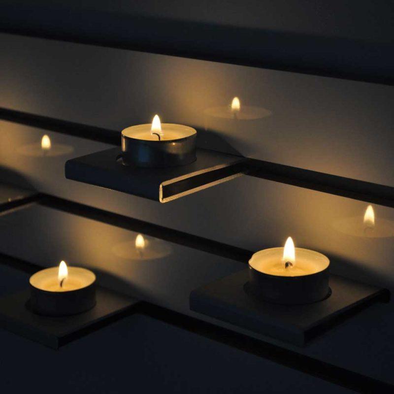 Ljushållare för vägg, fyra värmeljus, dekorativ trivselbelysning