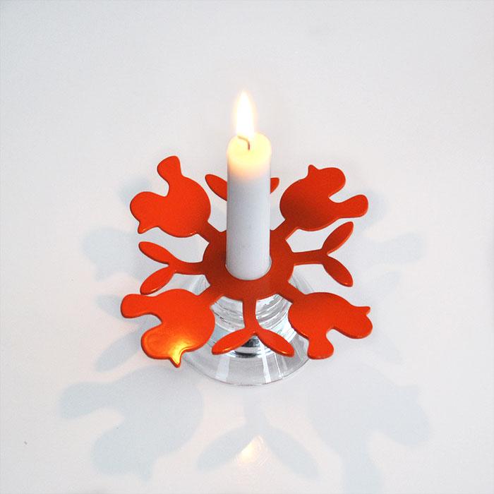 Fåglar, orange, ljusmanschett i lackerad aluminium
