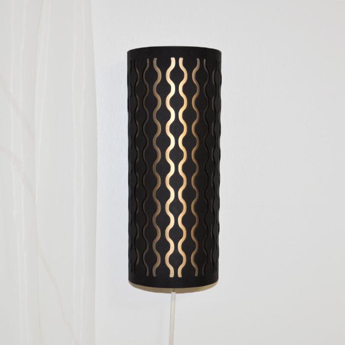 Pärlband, vägglampa svart